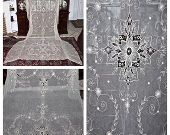 SOLD. Antique Victorian French TAMBOUR Embroidered Net Lace Ruffled Coverlet Bedspread Throw Veil 105x75 Heirloom!