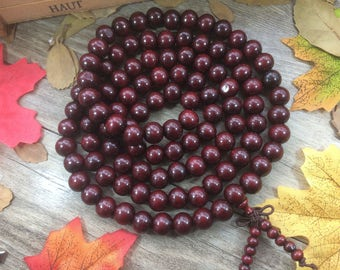 108pc 12MM Red Wooden Beads Meditation Buddhist Japa Mala Necklace Multi-layer Bracelet
