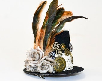 "Steampunk mini top hat ""Amanda"""