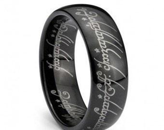Black Plated Elvish Script Tungsten Carbide Men & Women Laser-etched Wedding Band Ring - 7mm