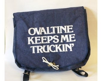 Vintage Denim Ovaltine Book Bag Backpack