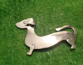 Chunky Art Deco Sterling Silver Dachshund Pin Brooch