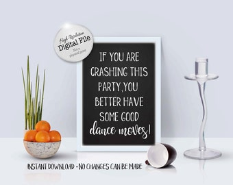A Humorous Wedding Sign, Funny Wedding Printables, Sign For Wedding Crashers, Wedding Printables, Instant Download, Digital Files