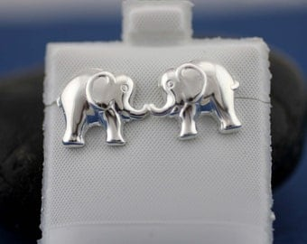 Sterling Silver Elephant Stud Earrings , Silver Large Elephant Stud, Silver Elephant Post Earrings, Silver Girls Earrings, Animal Jewelry