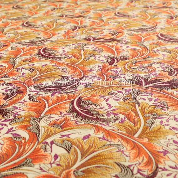 All over floral pattern orange colour chenille upholstery for Childrens curtain fabric by the metre