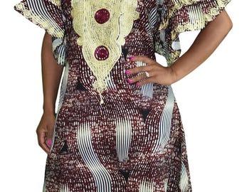 Ankara Goddess Gown in Burgundy and Cream