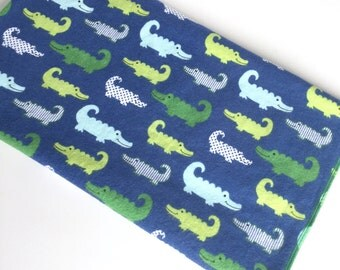 Preppy alligator flannel baby blanket - extra large - blue - green -swaddle -personalize -infant -bedding