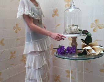 1920s deco vintage silk chiffon gown with layered ruffles and cape sleeves. Flapper bridal