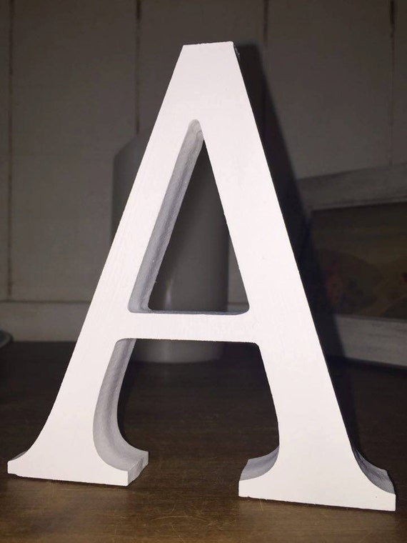 4 pack free standing white wooden letters 13cm large for Large freestanding wooden letters