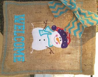 Winter Snowman Burlap Garden Flag