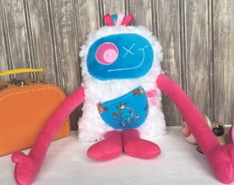 Hug Monster plush, turquoise blue and hot pink with octopus on the pocket,baby girl shower/birthday gift,cute friendly monster,ready to go