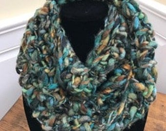 Unique handmade crocheted blue green teal river pebble infinity scarf