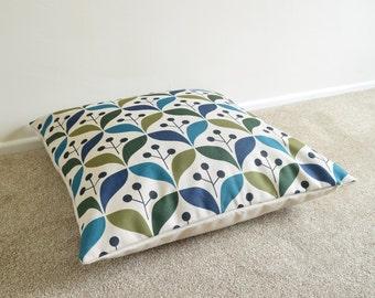 "Green-Blue Geometric/Scandinavian/Nordic Cotton Linen Floor Cushion/Pillow Cover 26 x 26"""