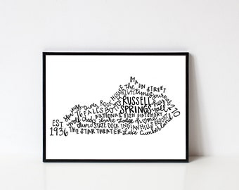 Hand lettered RUSSELL SPRINGS Kentucky Word Art Print // 8x10