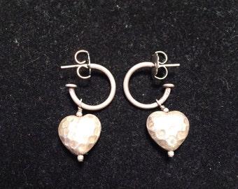 Vintage 925 sterling silver heart hoop earrings
