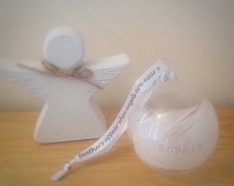 Memorial Ornaments, Personalised glass angel feather bauble in loving memory