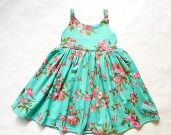 Leia dress, blue flower dress, summer knit dress, strappy dress, hawaiian dress, pink dress