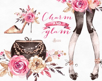 Charm And Glam. Watercolor fashion and floral Clipart, shoes, camera, logo, lady, handbag, stickers, flowers, gold, boutique, bouquet, gl1
