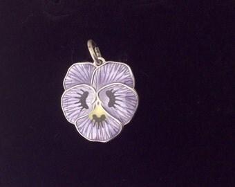 Vintage Guilloche Enamel Pansy Flower Charm for Bracelet