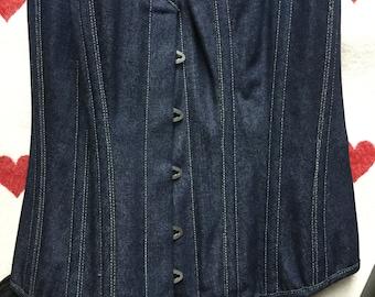 Denim size 10 lace-up corset burlesque drawstring basque with detachable suspenders