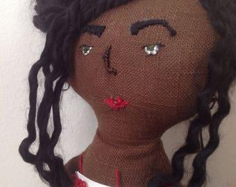 Rag doll / Ooak doll / Handmade doll / Art doll / Primitive rag doll / Soft doll / Brown linen doll  / Black doll