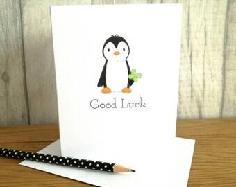 Good luck card, St Patrick's day penguin card, lucky four leaf clover card, blank inside