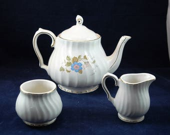 Vintage Sadler Windsor Swirl Teapot with Cream and Sugar Bowls Pink and Blue Floral Decoration         01384