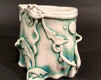 Porcelain Yunomi Cup #T42 hand built by Skip Lyman