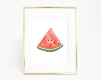 Watermelon Print, Kitchen Wall Art, Summer Fruit Art, Fruit Artwork, Watermelon Poster, Summer Decor, Printable Art, Watercolor Food Print