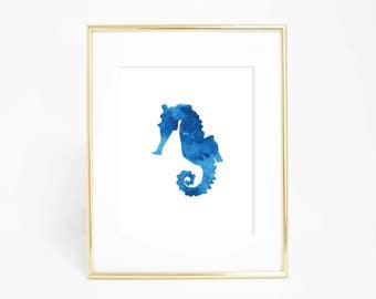 Printable Wall Art, Seahorse Printables Seahorse Decor Blue Wall Art Digital Art, Sea Horse Print, Blue Seahorse Artwork, Blue Nursery Decor