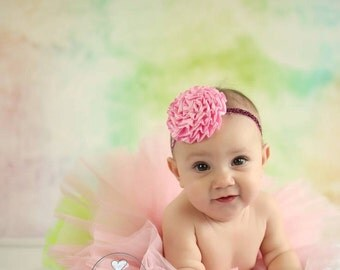 Pink Satin Carnation Flower Headband Photo Prop