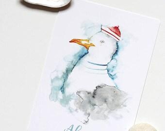 Seagull postcard, ahoy, sailor, north sea, greeting card bird illustration, holiday, seaside, seagull watercolour greetings
