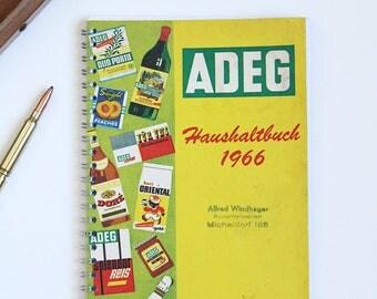 vintage journal, notebook from old german household book, retro notebook vintage recipebook