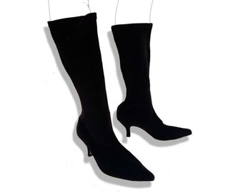 90s velvet witch pointy toe stretchy knee high sock boots
