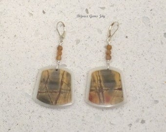 Earrings, Intarsia, Picasso Jasper & White Jade Intarsia, Pink/Brown Moonstone, Sterling Silver E17001
