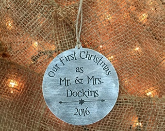 Ornament, Christmas Ornament, First Christmas, Mr & Mrs First Christmas, Rustic Ornament, 1st Christmas Ornament,Stocking Stuffer