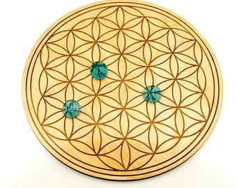 "Flower of Life 8"" Crystal Grid Board - Sacred Geometry Birch Crystal Grid - Wood Crystal Grid - Engraved Crystal Grid - Crystal Healing Grid"