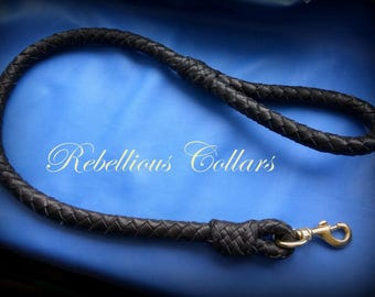 Leather dog leash with brass carabin