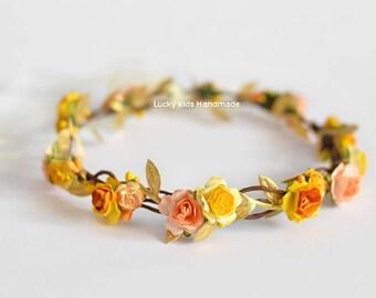 Yellow orange flower crown Toddler yellow golden floral crown Birthday halo Golden orange flower girl Hair wreath Toddler Flower girl wreath