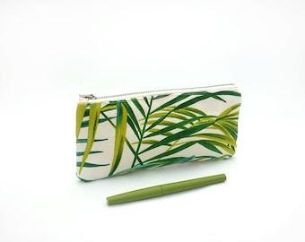 Tropical pencil pouch / Palm leaf pencil case / Zipped pouch with green palm leaf / Pencil bag / Palm pencil pouch gift idea / Trousse