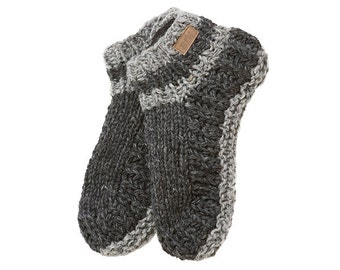 Charcoal Power Wool Booties, Slippers, Fleece Lined