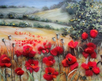 Wool painting, Fiber Red poppies wall art, Felted wool picture, Landscape painting, Mothers day gift, Birthday gift, Unusual gift for women