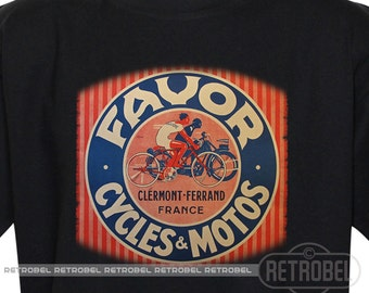 FAVOR motorcycles Men's t-shirt, Retro mens Short Sleeve Tshirt, Bikers Christmas gift, Clermont-Ferrand France, Graphic Tee