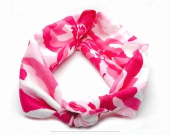 Pink Camo - Turban Headband - Baby Girl Headwrap - Accessories - Turban Headwrap - Preemie Headband - Stretchy Headband - Summer