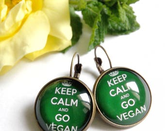 Earrings * vegan * go vegan vegetarian, natural, ethical, organic, green, glass cabochon
