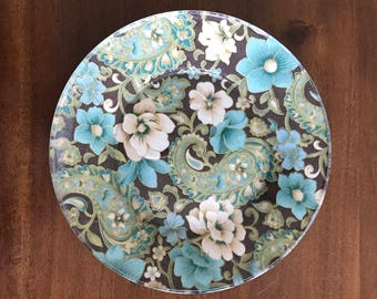 Decorative Floral Paisley Glass Plates