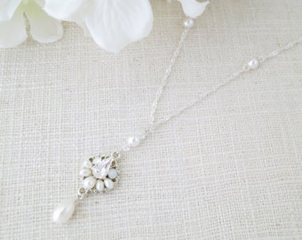 Swarovski crystal and pearl pendant necklace, Long delicate wedding necklace, Freshwater pearl bridal necklace