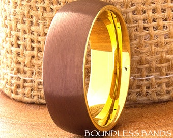 Tungsten Wedding Ring Mens Ring Mens Wedding Band Tungsten Ring Brown Yellow Gold 8mm New Design Two Tone His Hers Brown Yellow Comfort Fit