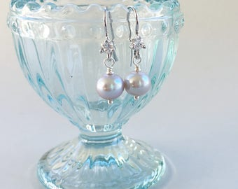 Simple Gray Pearl Earrings, Dainty Freshwater Grey Pearl Drop Earrings - on Sterling Silver Earrings, June Birthstone Earrings