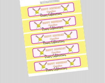 Softball Water Bottle Labels, Softball Party Supplies, Softball Party Decorations by Owens Celebrations